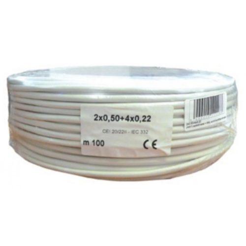 Biztonságtechnikai kábel  (2X0,5+4X0,22)