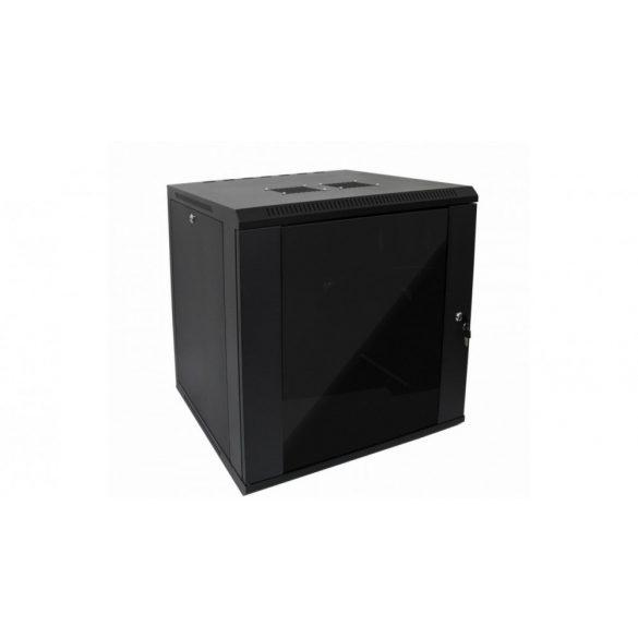 RACK faliszekrény 60X45cm fekete üvegajtós 12U magas (RACKL60X45X12U)