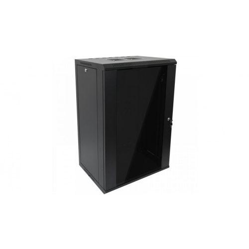 RACK faliszekrény 60X45cm fekete üvegajtós 18U magas (RACKL60X45X18U)