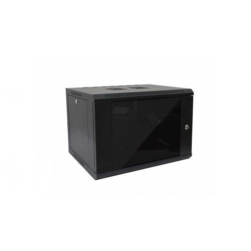 RACK faliszekrény 60X45cm fekete üvegajtós 6U magas (RACKL60X45X6U)
