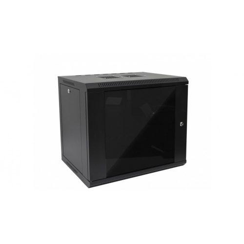 RACK faliszekrény 60X45cm fekete üvegajtós 9U magas (RACKL60X45X9U)