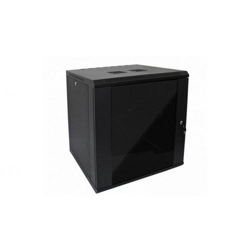 RACK faliszekrény 60X60cm fekete üvegajtós 12U magas (RACKL60X60X12U)