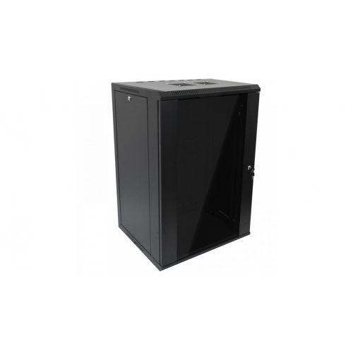 RACK faliszekrény 60X60cm fekete üvegajtós 18U magas (RACKL60X60X18U)