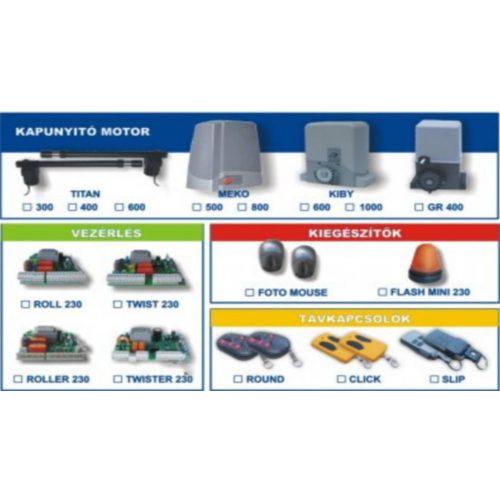 Gardengate nyílómotor szett max. 1,5m-es kapuszárnyhoz (TITAN_300-TWISTER_230_SZETT)