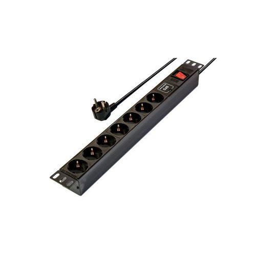 """Rack 230 V-os elosztó 19""""-os, 7 aljzattal, kapcsolóval, túlfeszültségvédett (rackeloszto7_fesz)"""